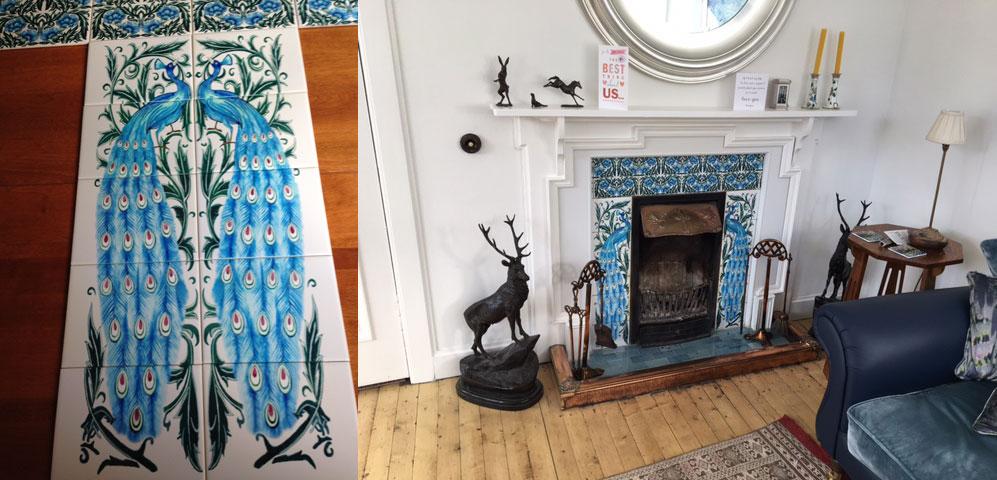 William De Morgan turquoise peacock fireplace, Scotland