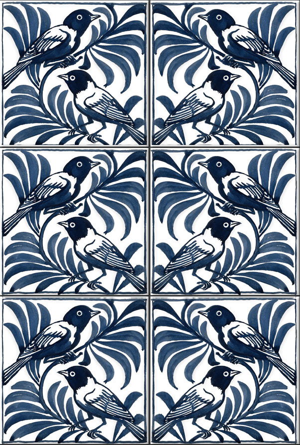 William De Morgan blue weaver birds reproduction tiles