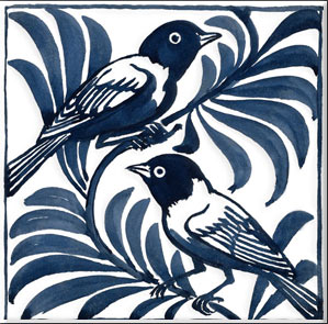 Blue weaver reproduction tiles, detail. William De Morgan.