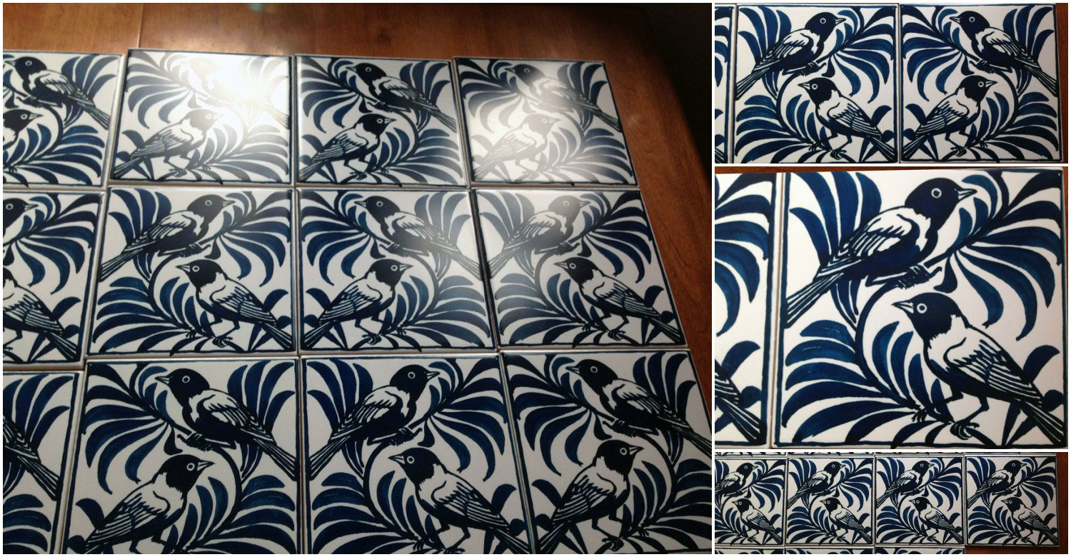Victorian blue weaver ceramic tiles, William De Morgan.
