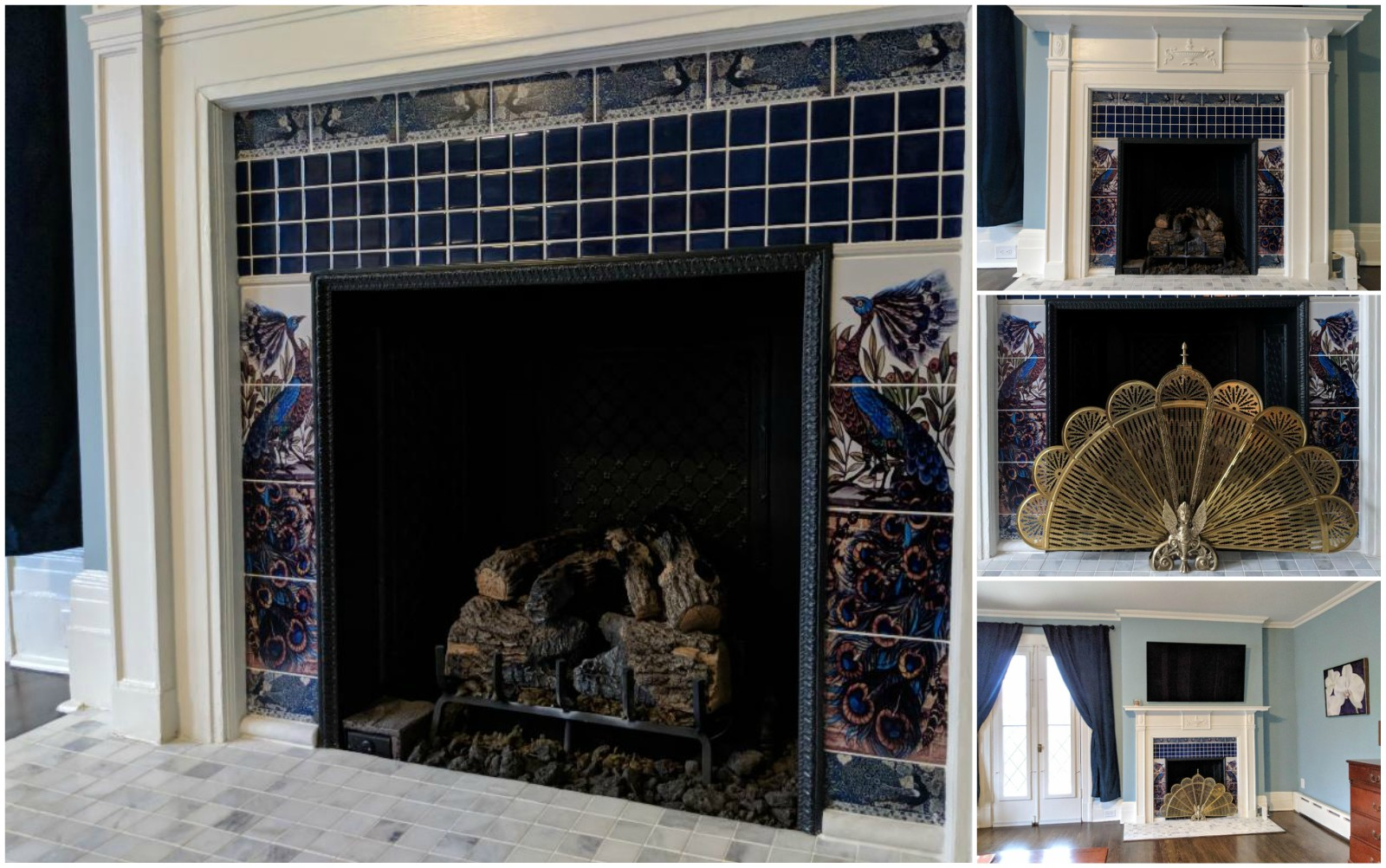 William De Morgan Peacock and Salamander paneled fireplace with peacock border tiles, WilliamMorrisTile.com