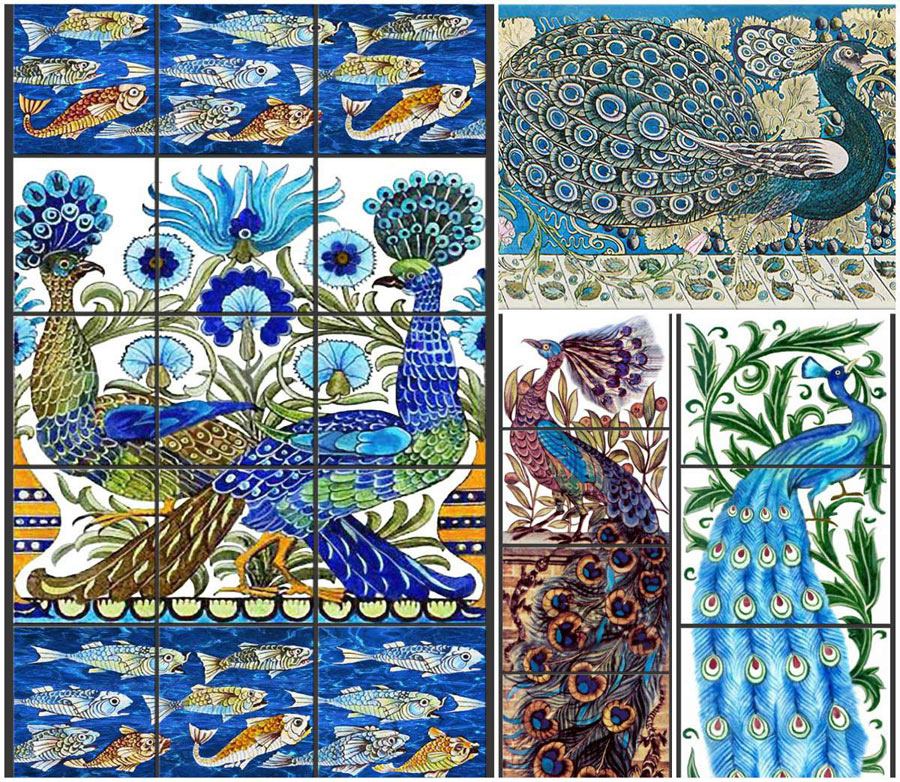 Peacock and salamander fireplace tile panels for Azulejos william de morgan