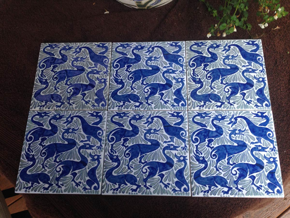 William De Morgan Fantastic Ducks, in indigo.