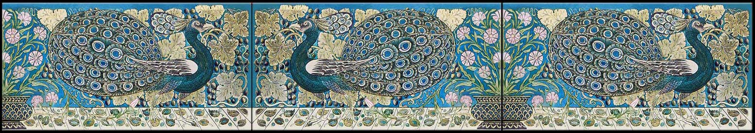 William De Morgan Peacock border tiles, probably produced at the Fulham tile works. They are representative of De Morgan's Persian color palette.
