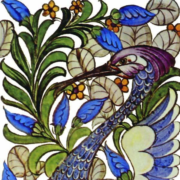 William De Morgan Fantastic Bird, single tile