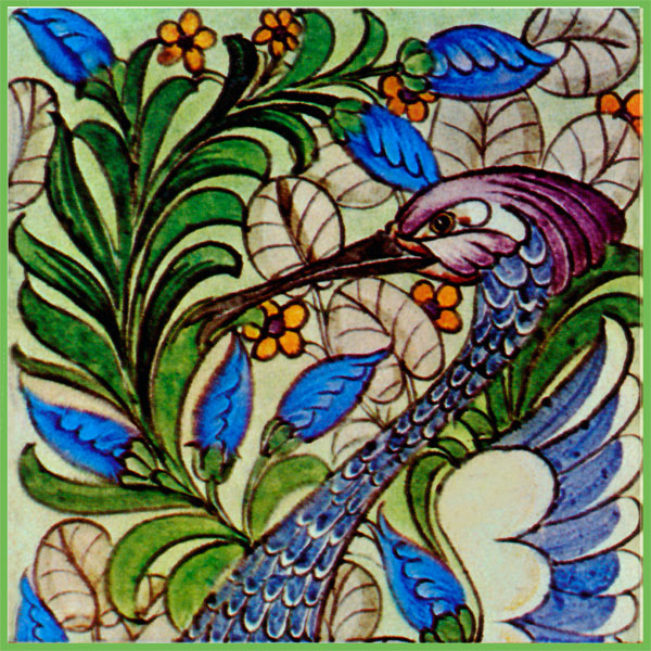 William De Morgan Fantastic Bird tile, top panel. Original colors