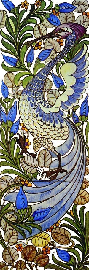 William De Morgan Fantastic Bird tile, three panel