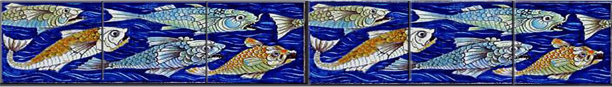 William De Morgan Fish and Peacock mural, fish border - bottom, WilliamMorrisTile.com
