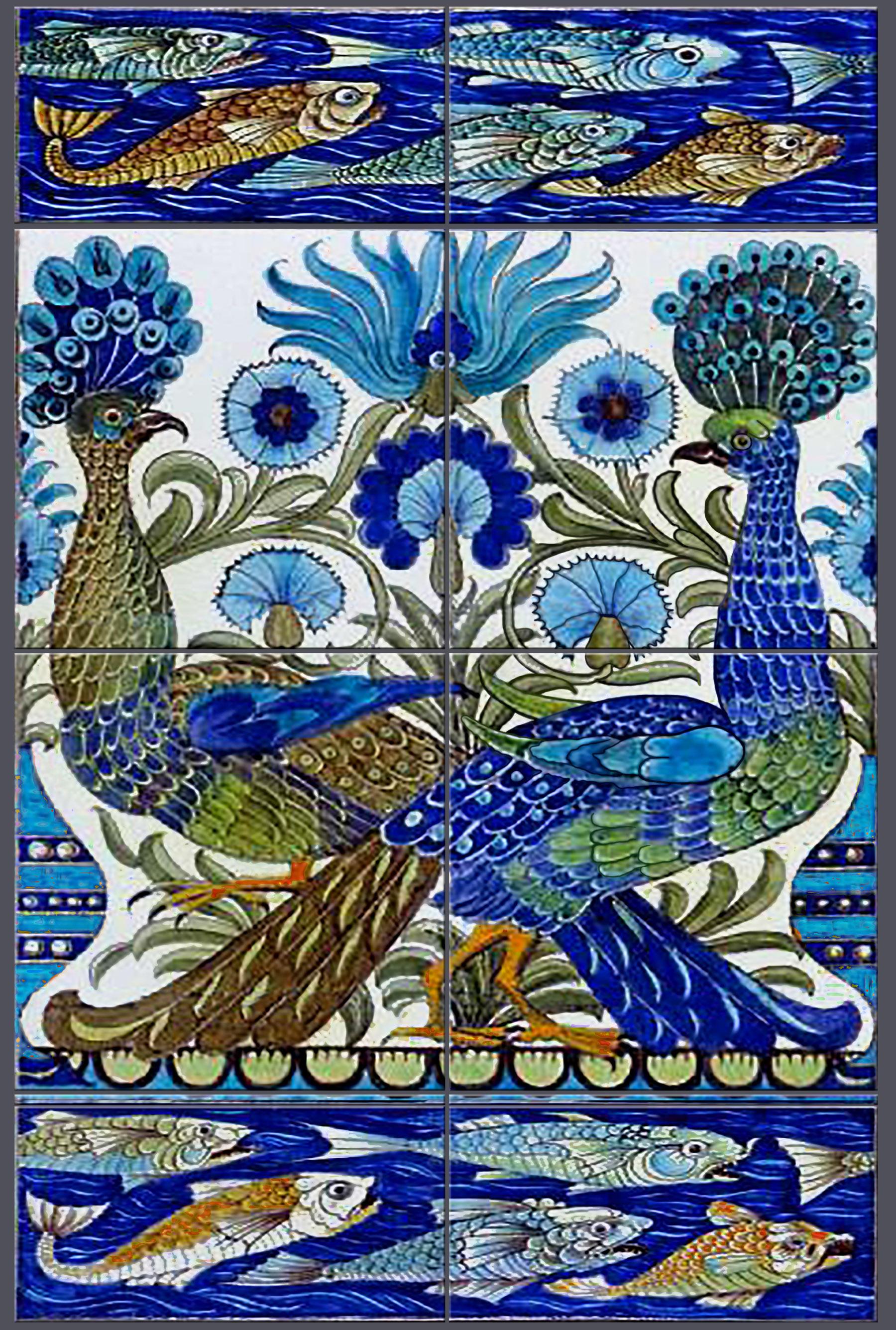William De Morgan Fish and Peacocks, 8 tile backsplash