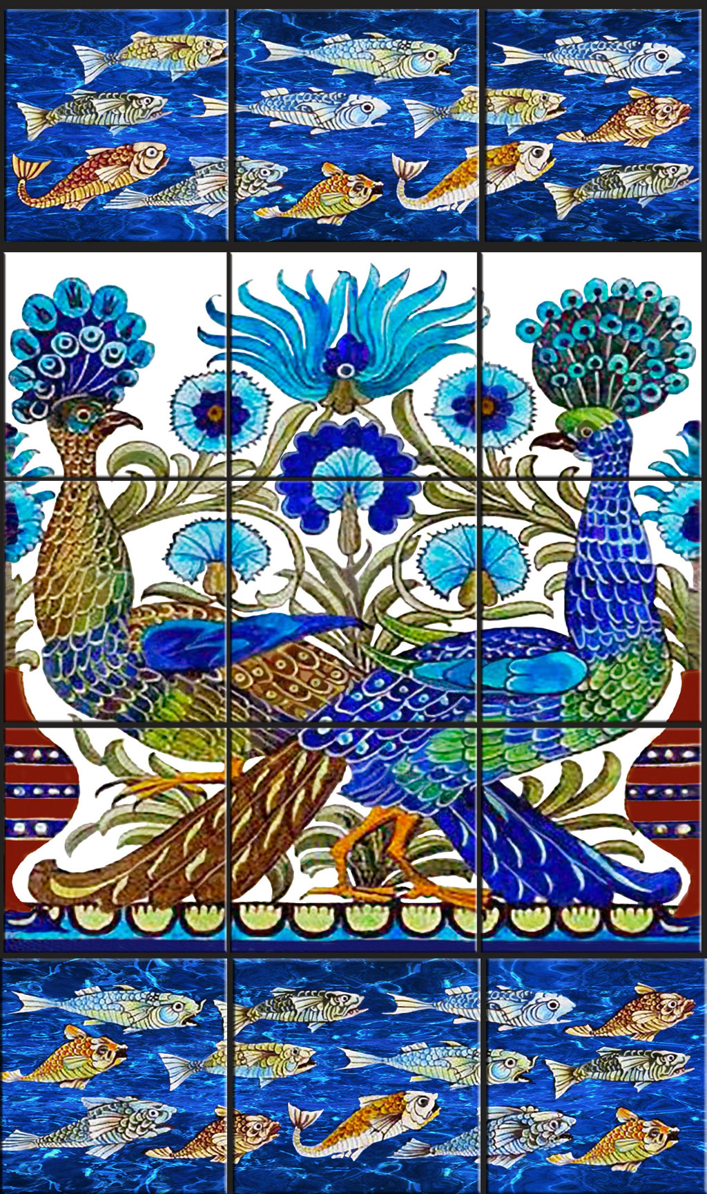 Crosstailed peacocks with Fish Borders