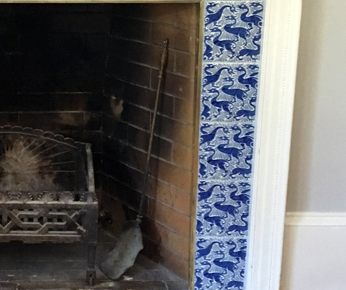William De Morgan Arts and Crafts fireplace with fantastic ducks tiles