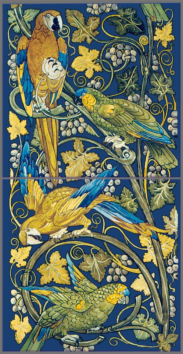 William De Morgan parrots and macaws tile panel in gold on cobalt blue background