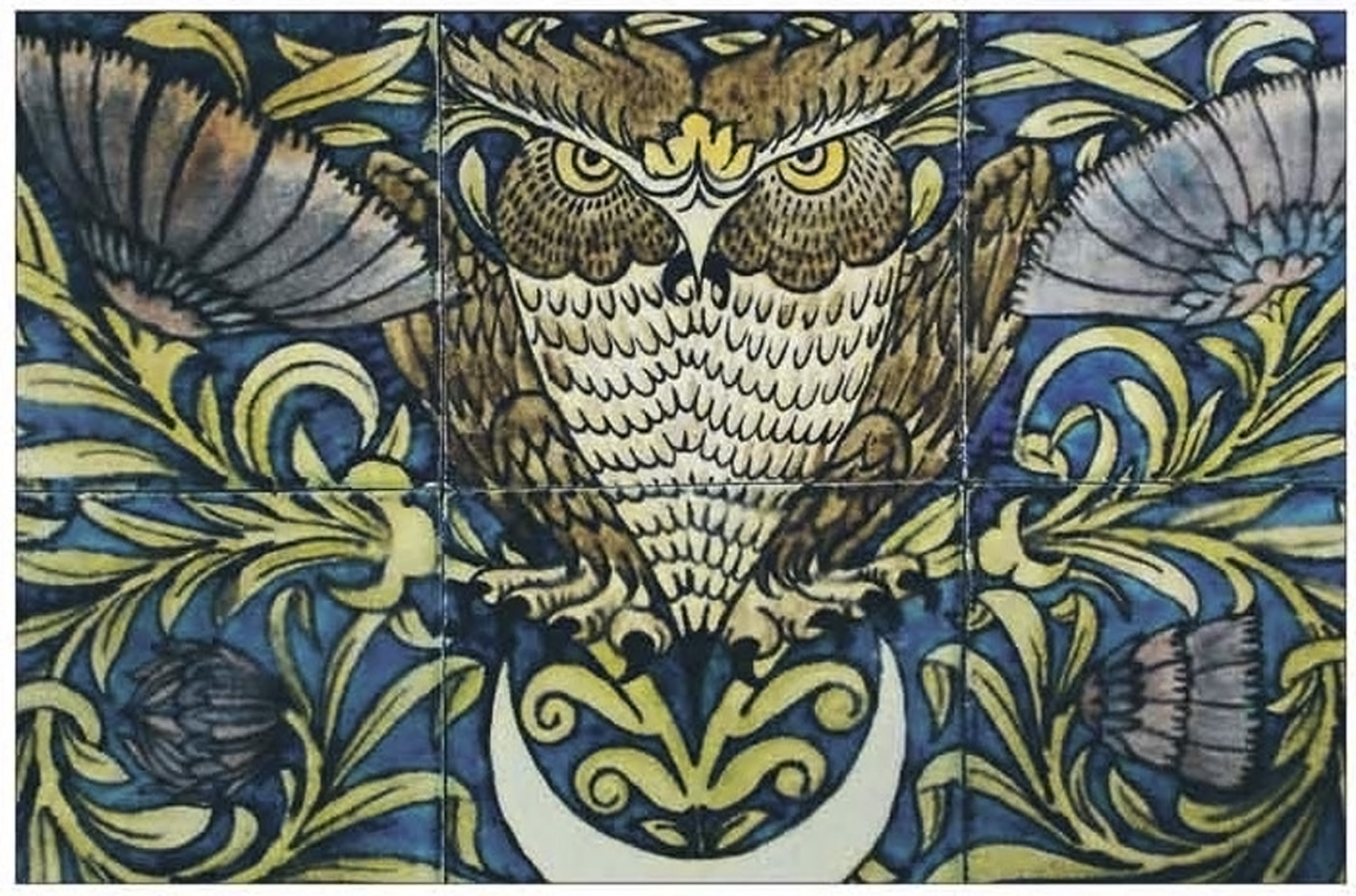 William De Morgan Merton Abby owl tile tile panel