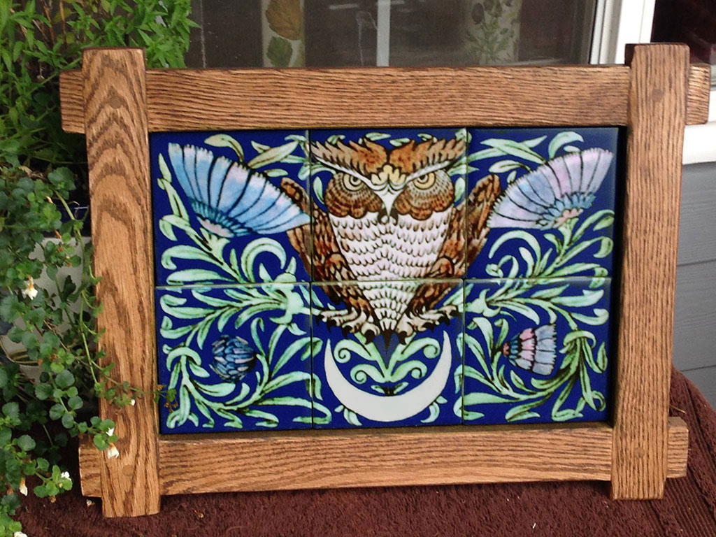 William De Morgan Merton Abby owl tile panel, 6 tiles, William Morris Tile