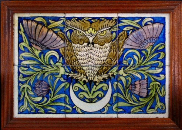 Original William De Morgan Merton Abby owl tiles