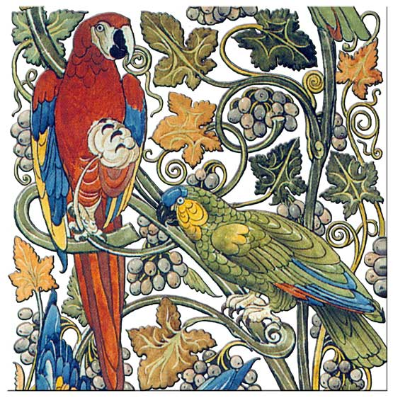 William De Morgan Parrots and Macaws tile, white background