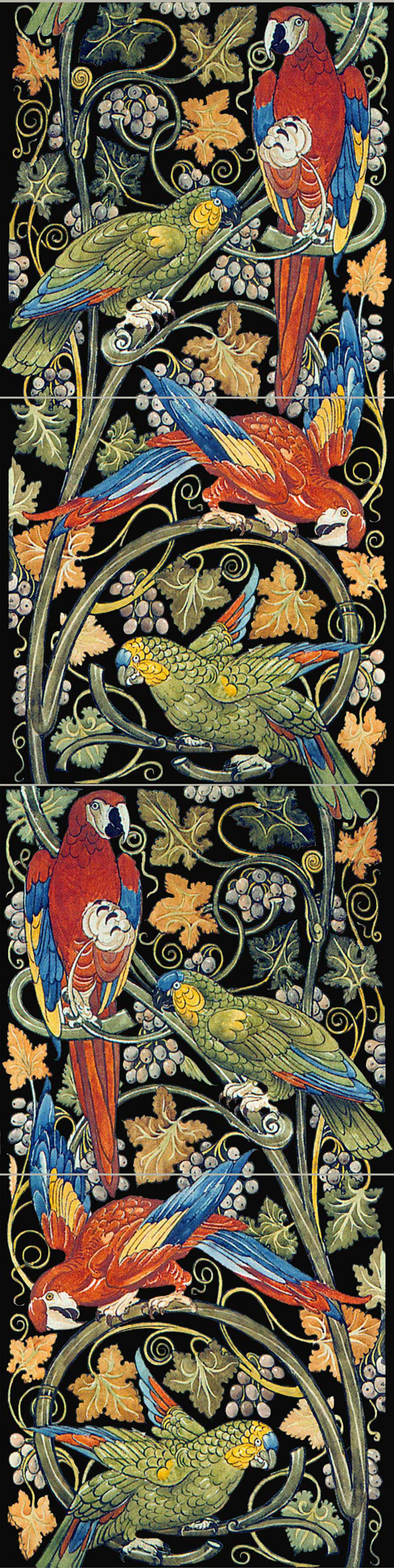 William De Morgan Parrot and Macaw panel with black background.