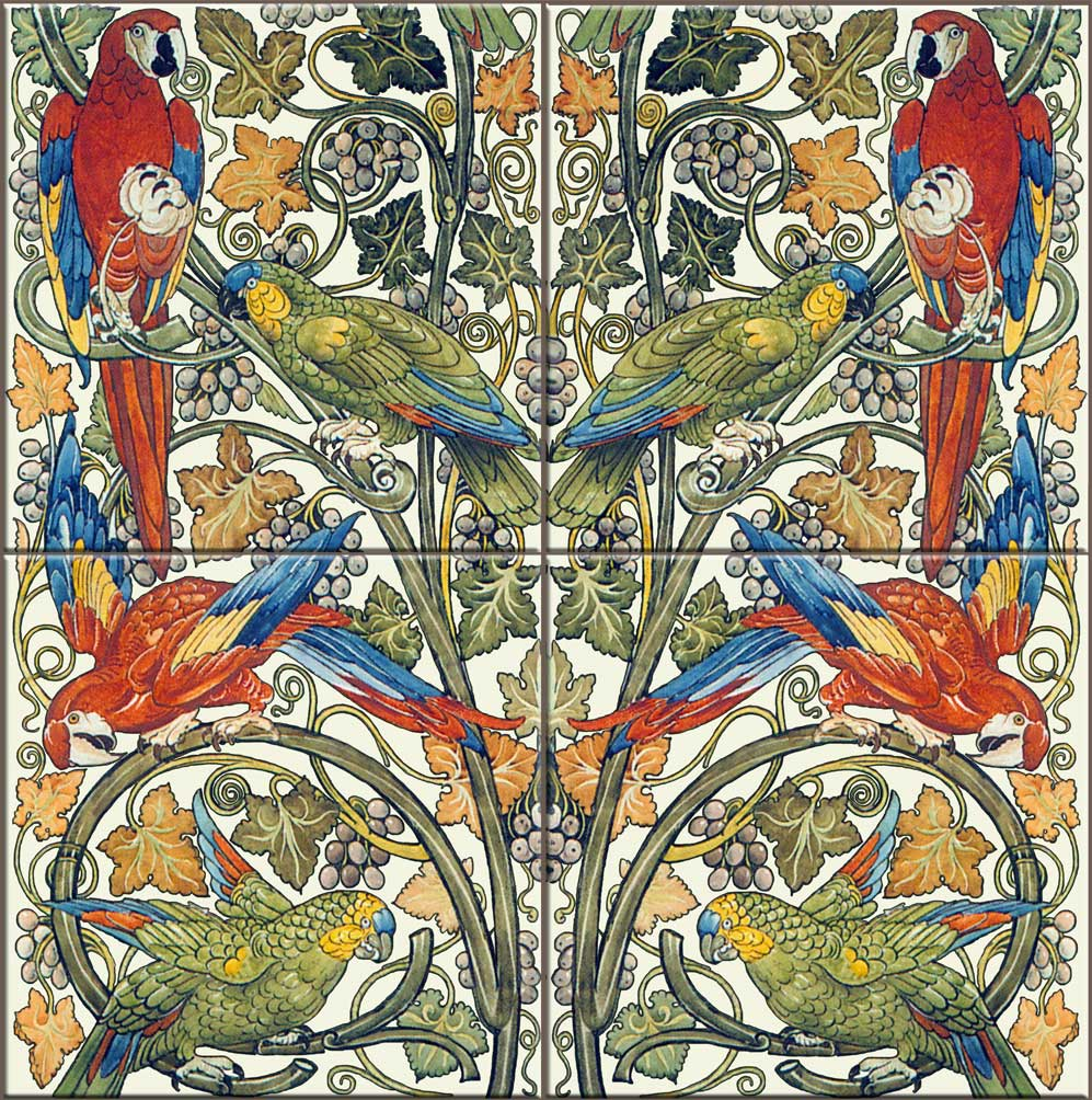 William De Morgan fireplace tiles, Parrots and Macaws.  Parrots were onsidered appropriate pets for women, especially lonely women, in the 19th century, as an outlet for their emotions.