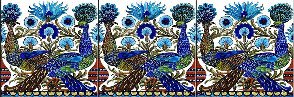 De Morgan peacock border tiles