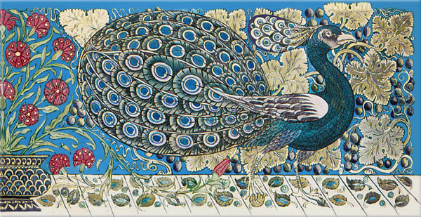 William De Morgan Peacock Small Border Tiles