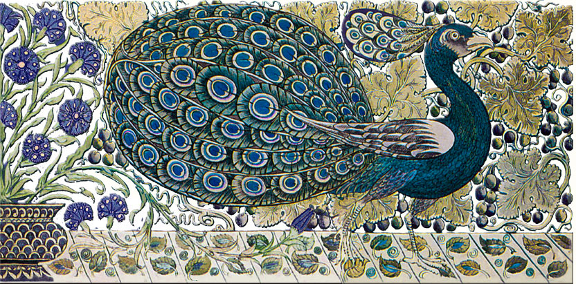 De Morgan Peacock border tile, white background