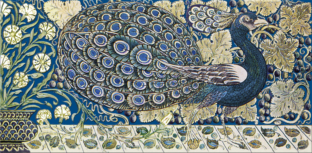 Peacock border tile, Persian blue background