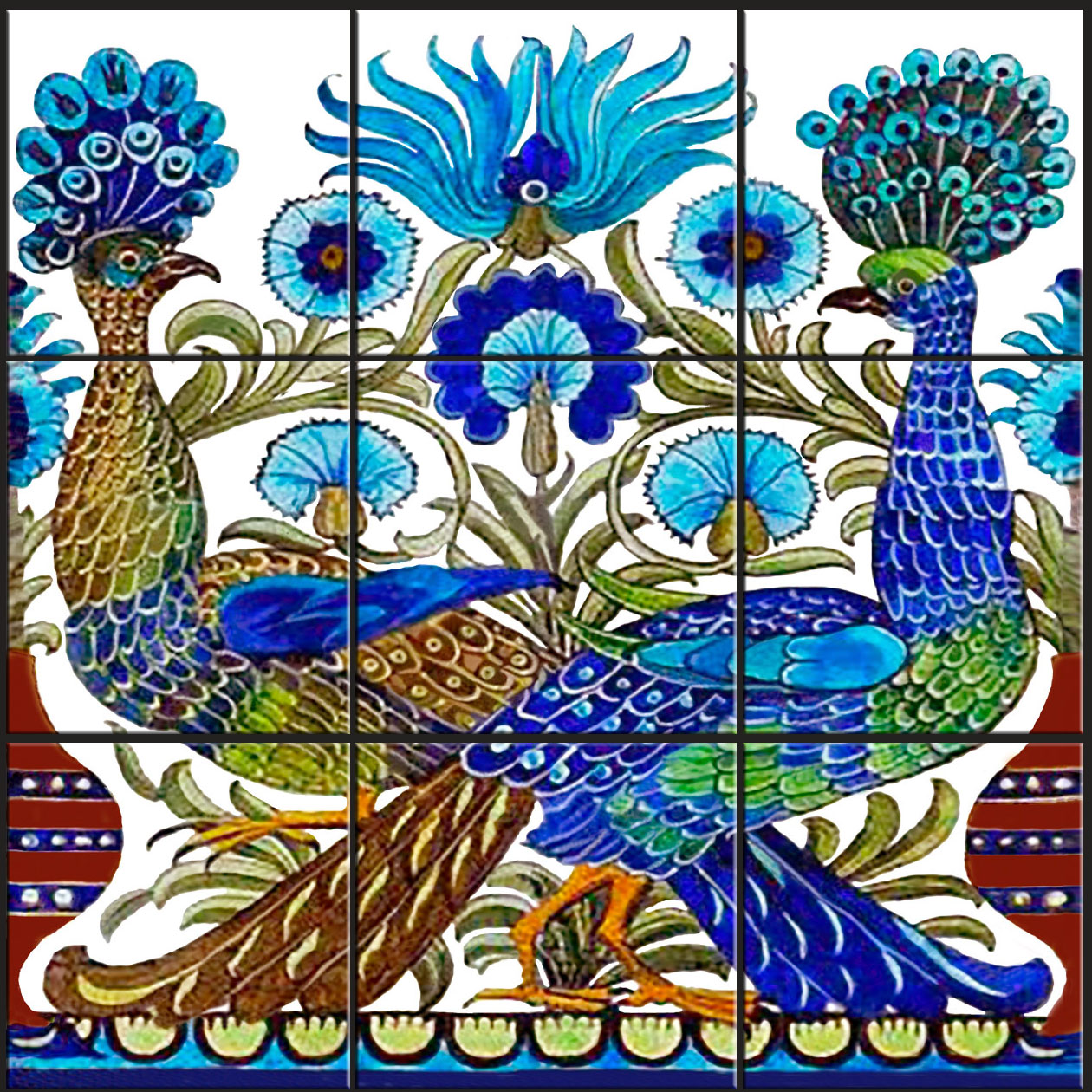 De Morgan Cross-tailed Peacock backsplash
