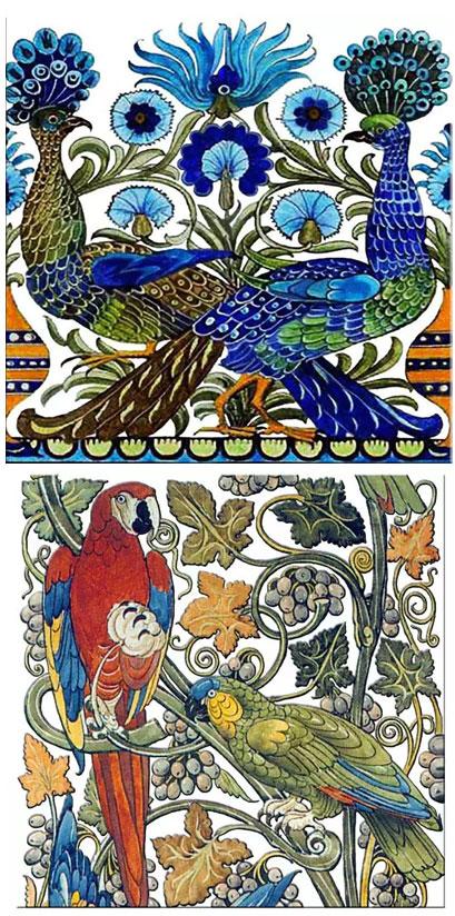 De Morgan peacock and parrot single tiles