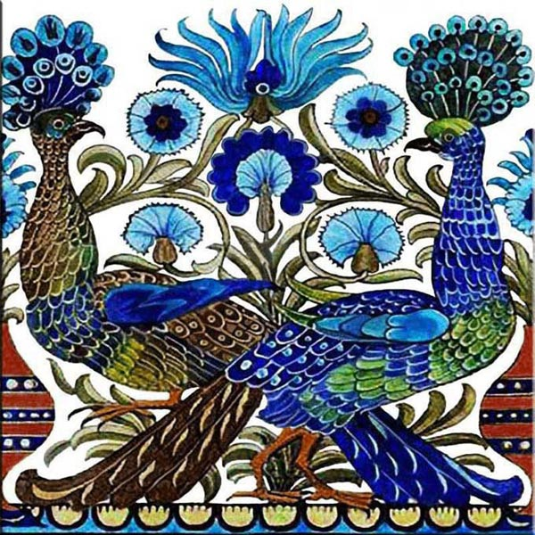 Fish and Peacock Accent Tile, available in 6- or 8- inch