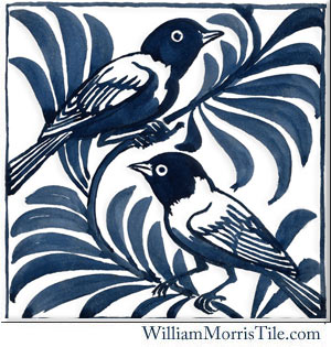 De Morgan reproduction tiles, blue weavers