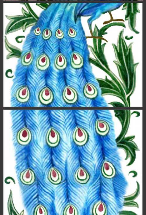 William De Morgan Turquoise Peacock Detail