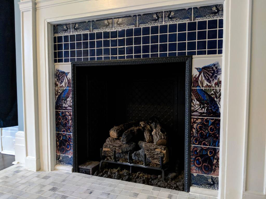 William De Morgan peacock fireplace