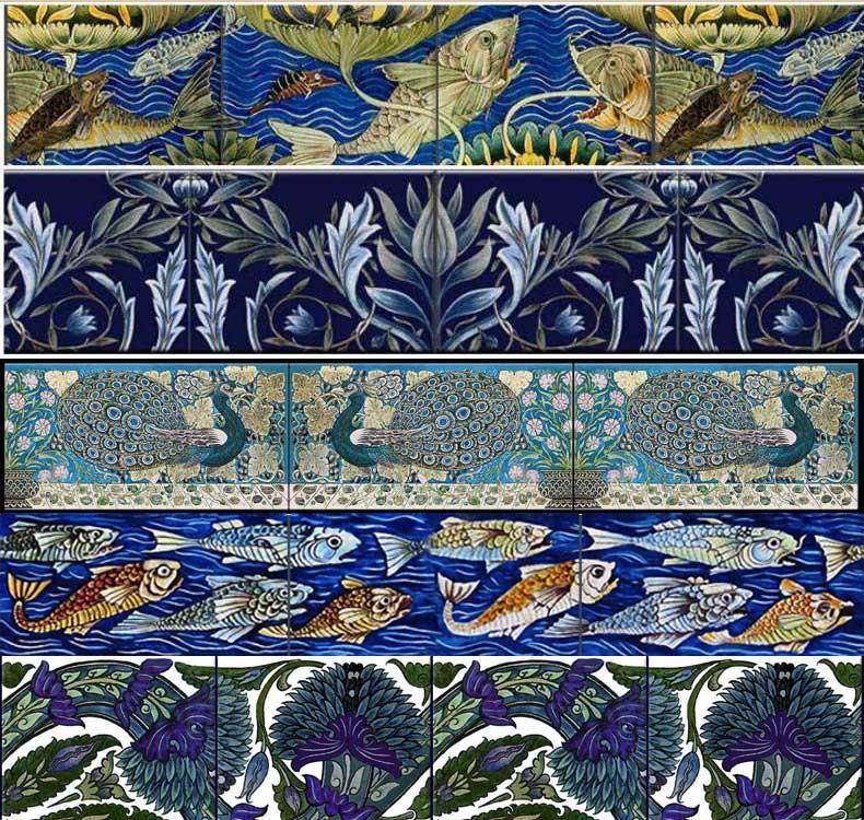 De Morgan borders and scrolls: Persian fish frieze, Memband two tile border, Peacocks and Carnations border