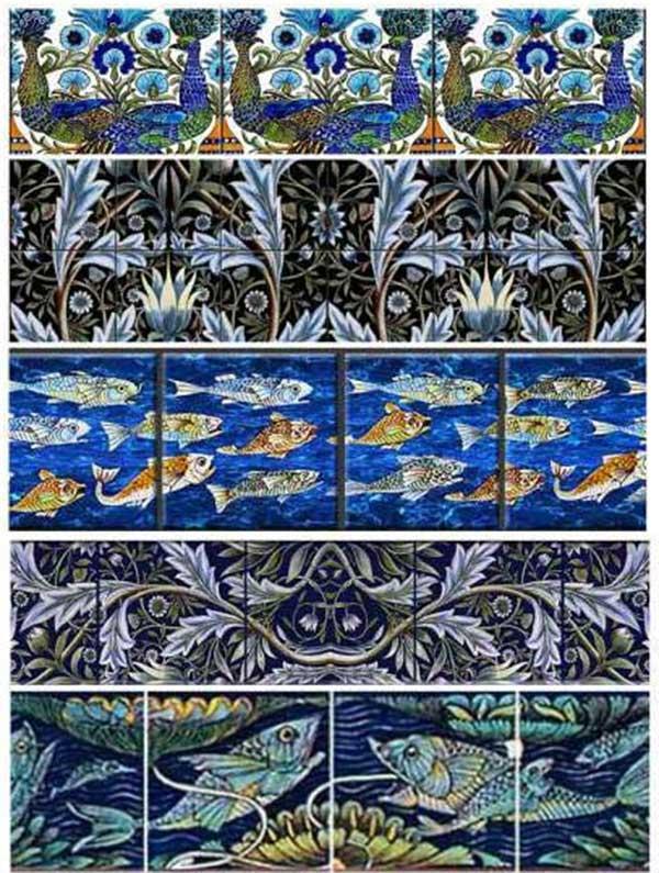 De Morgan borders and scrolls: Persian peacocks, Membland two row border, Fish and peacocks border, jewel rish freeze,blue peony scroll