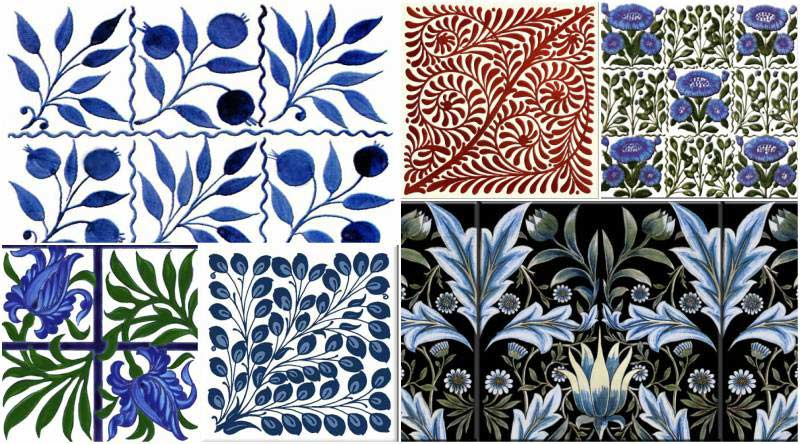 William De Morgan Flowers and Foliage single tiles