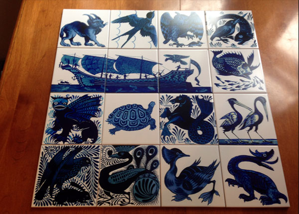 William De Morgan blue and white tiles