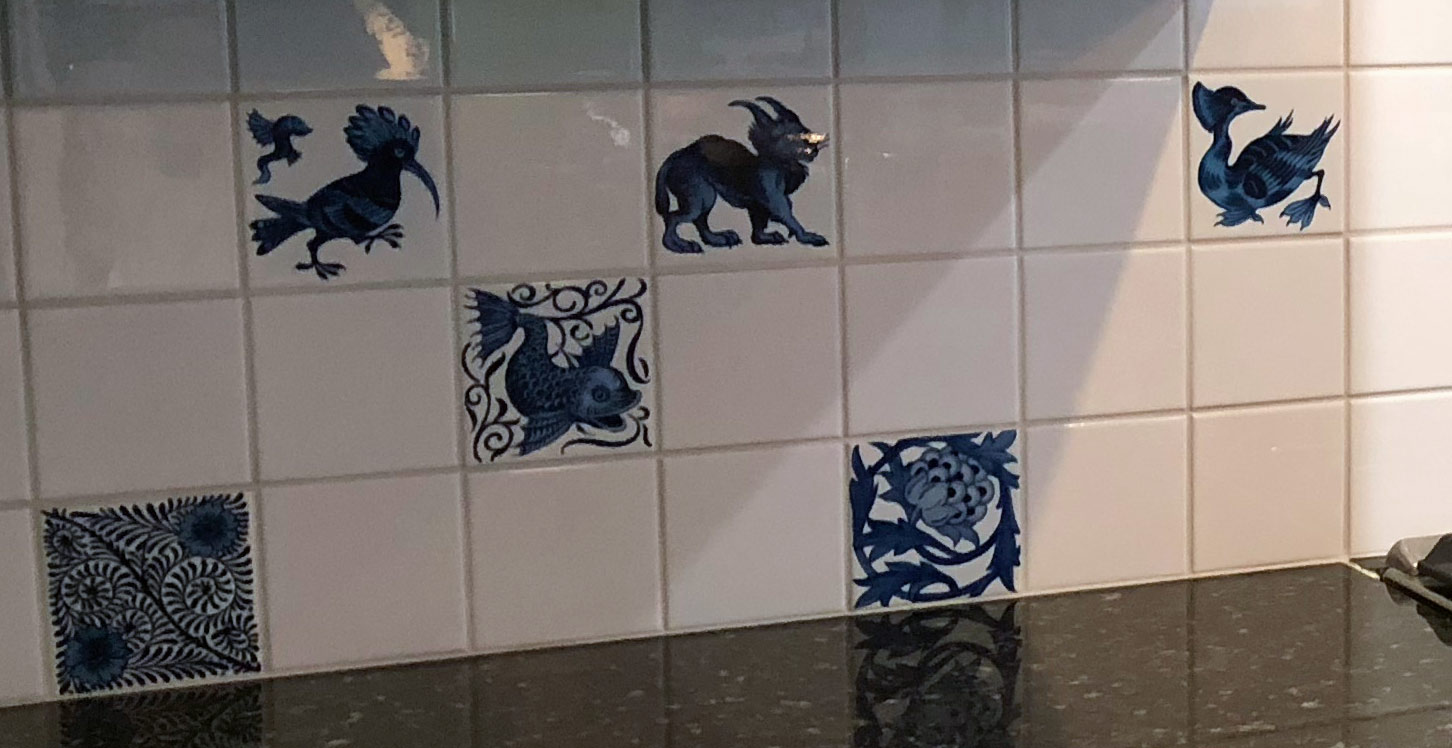 William De Morgan blue and white birds and beasts tiles