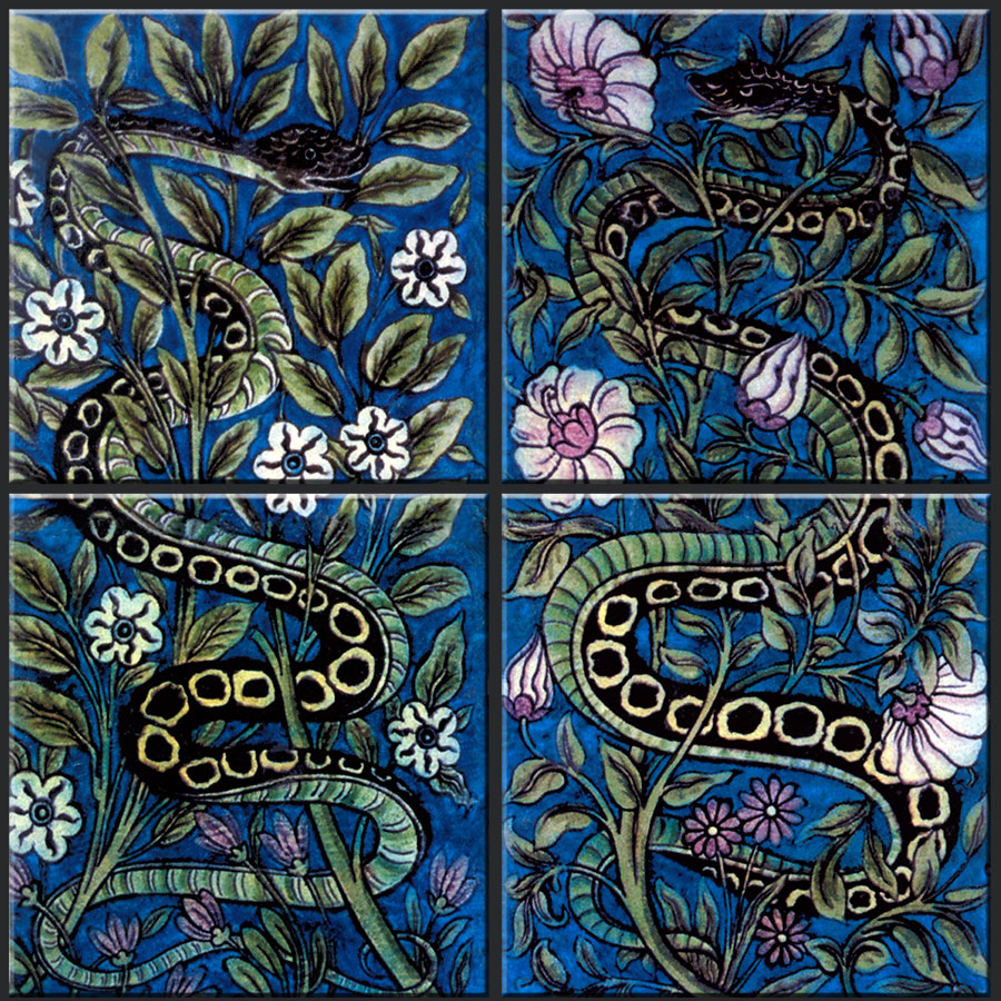 William De Morgan Persian Serpent Tile Panels, probably produced at Merton Abbey. They are representative of De Morgan's Persian color palette: primarily Persian blue (a medium to dark blue), green, strong yellow, a slightly yellow green, with varying shade of mangese purple and Indian red. Available in 4.25 and 6 ceramic from williammorristile.com