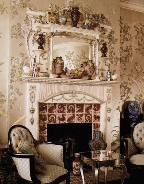 Morris's Iznak Tiles in White Panelled Sitting Room at Kelmcott Manor