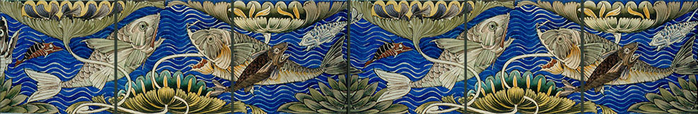 William De Morgan Fish Tiles Set of 3
