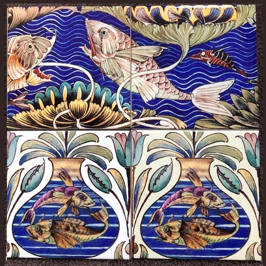 William De Morgan Fireplace Fish with Persian Fish Frieze