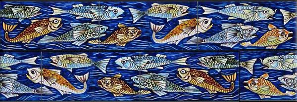 William De Morgan Angry Fish 3 x 6 inch border tiles, blue, green, orange