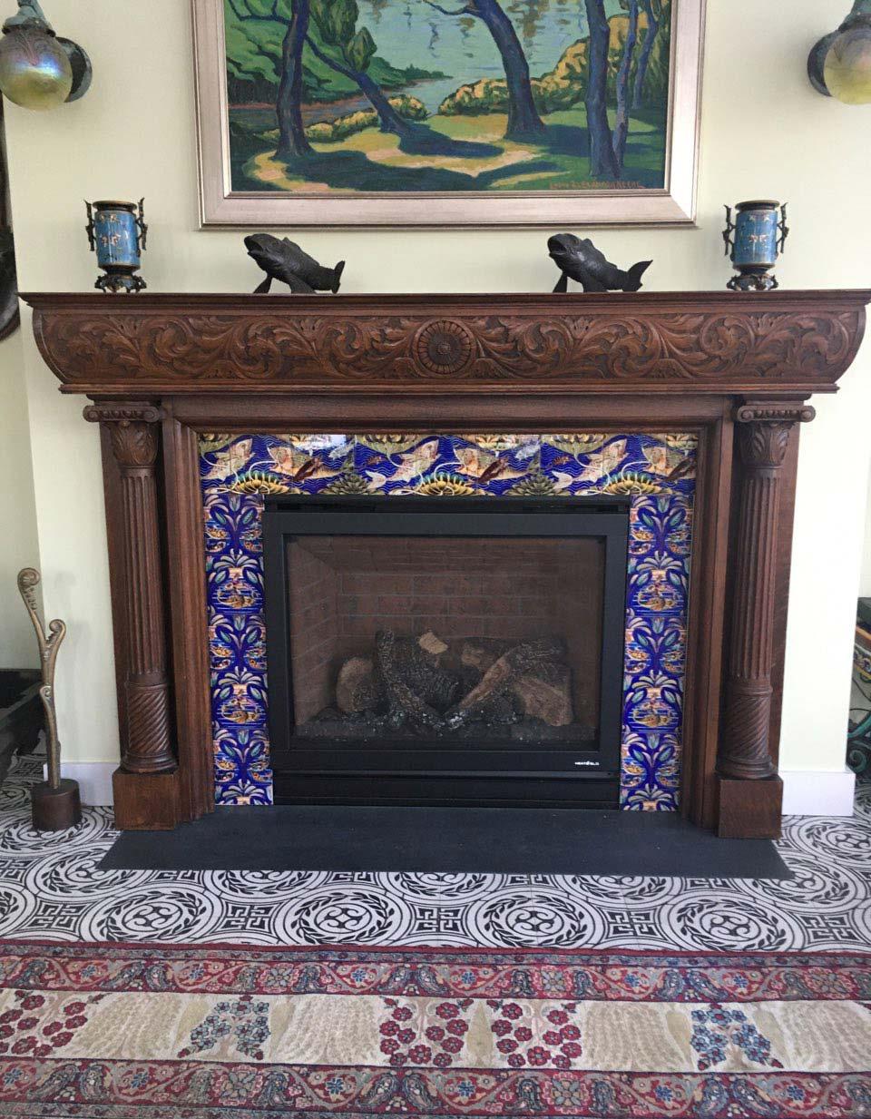 Persian Fish Frieze fireplace, Bath, Maine