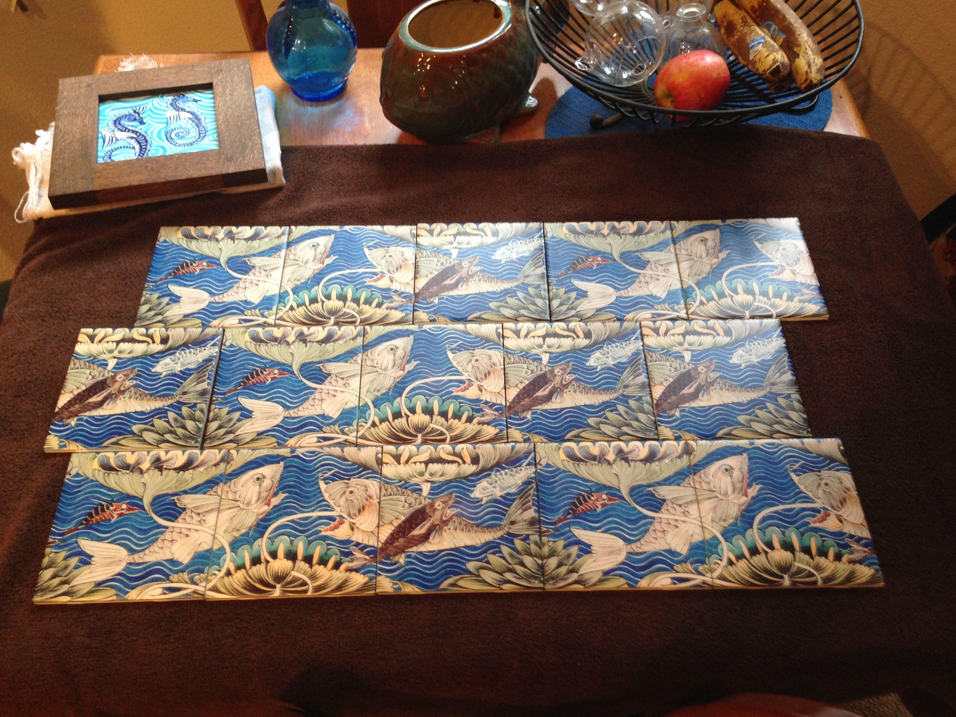 William DeMorgan Persian Fish Tiles