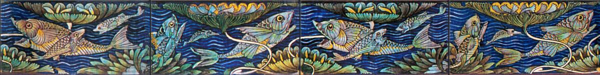William De Morgan Jeweled Fish 6x3 inch border tiles
