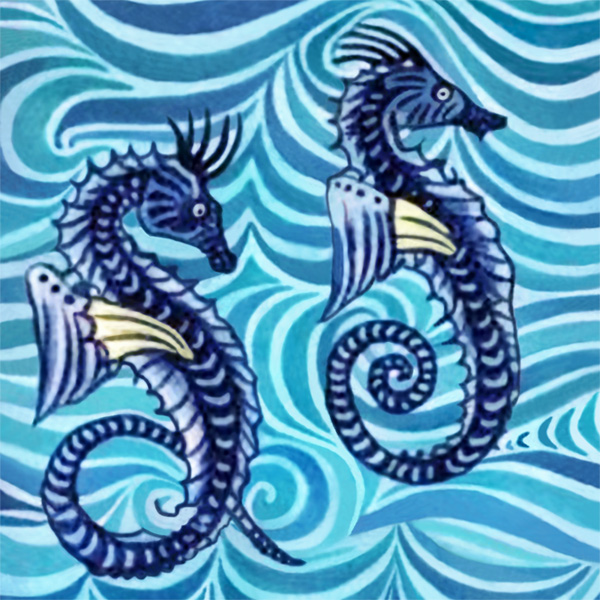 William De Morgan Seahorses single tile.