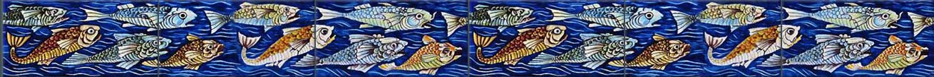 William De Morgan Angry Fish 6x3 inch border tiles, blue, green, orange