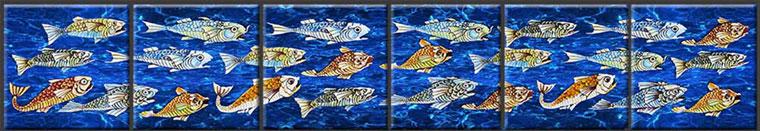 William De Morgan Fish Tiles, School of Fish