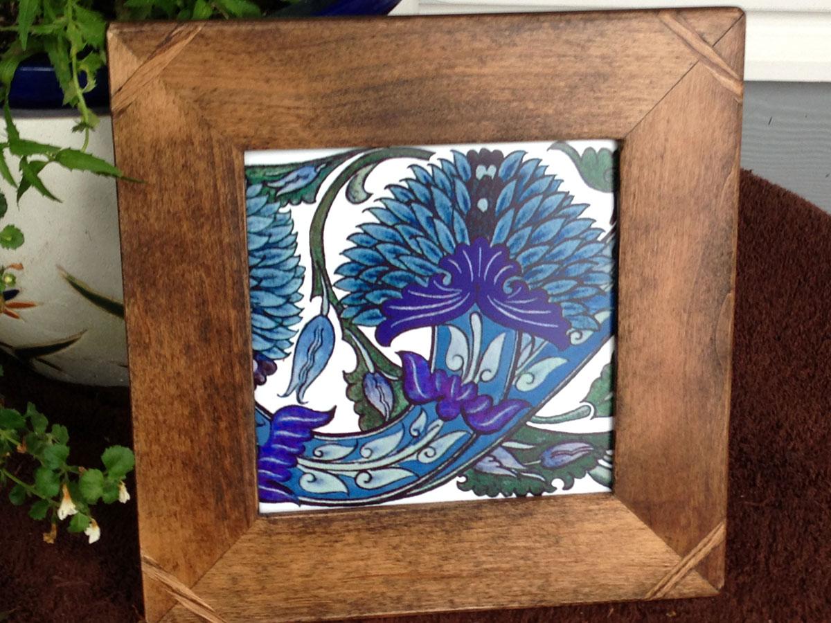William De Morgan Blue Peony Tile, framed
