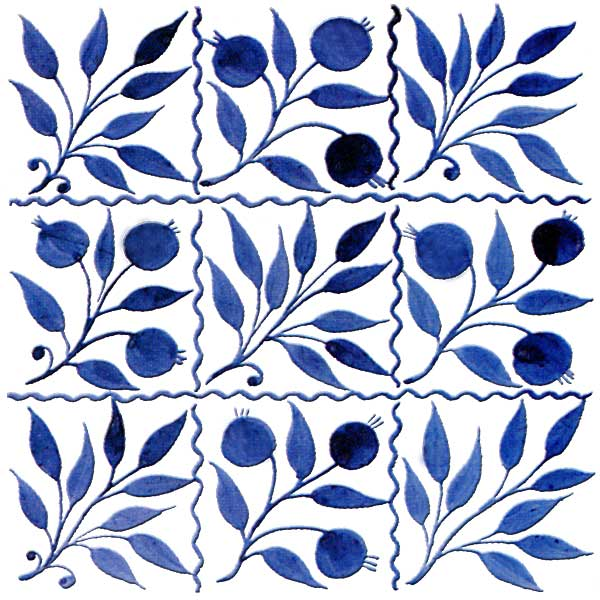 William DeMorgan nine-bough square tile